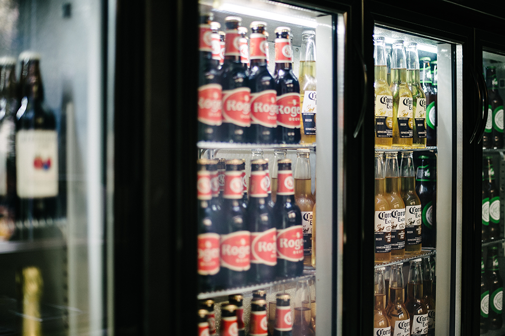 Ample refrigerator space for an assortment of beverages.